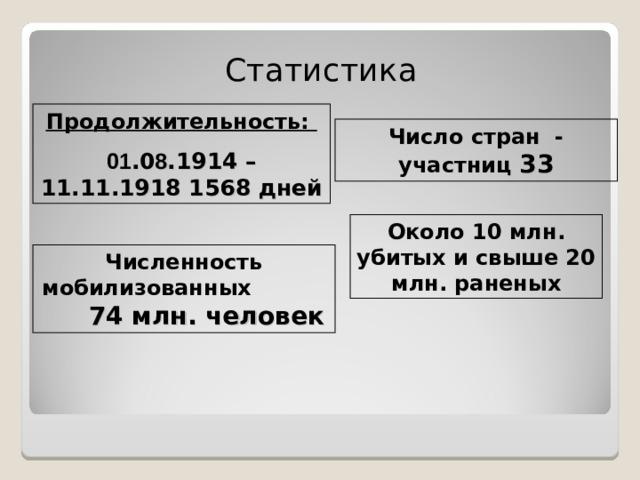 Статистика Продолжительность: 01 .0 8 .1914 –11.11.1918 15 68 дней Число стран - участниц 33 Около 10 млн. убитых и свыше 20 млн. раненых Численность мобилизованных 74 млн. человек