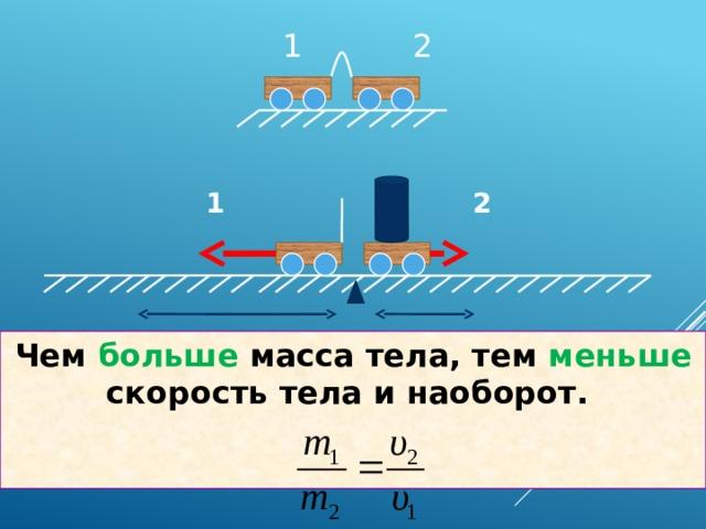 1 2 1 2 Чем больше масса тела, тем меньше скорость тела и наоборот.