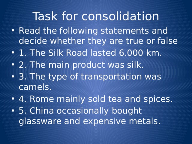 Task for consolidation