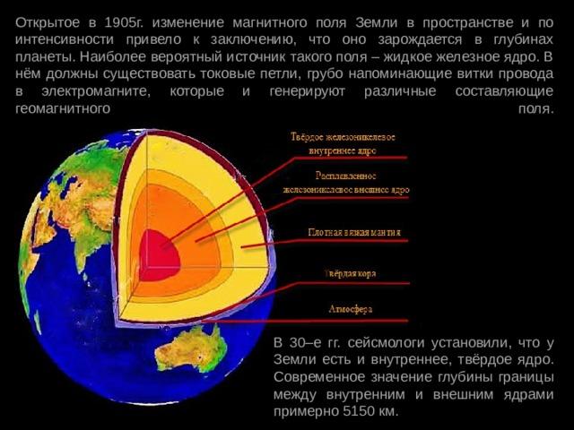 Открытое в 1905г. изменение магнитного поля Земли в пространстве и по интенсивности привело к заключению, что оно зарождается в глубинах планеты. Наиболее вероятный источник такого поля – жидкое железное ядро. В нём должны существовать токовые петли, грубо напоминающие витки провода в электромагните, которые и генерируют различные составляющие геомагнитного поля.   В 30–е гг. сейсмологи установили, что у Земли есть и внутреннее, твёрдое ядро. Современное значение глубины границы между внутренним и внешним ядрами примерно 5150 км.