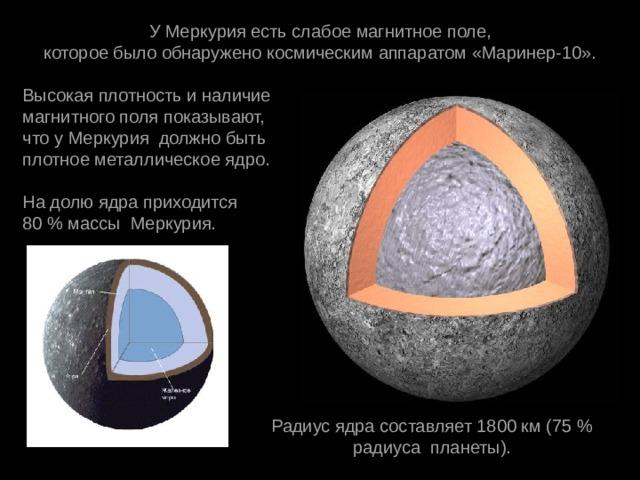 УМеркурияестьслабоемагнитноеполе, котороебылообнаружено космическимаппаратом«Маринер-10». Высокаяплотностьиналичие магнитногополяпоказывают, чтоуМеркурия должнобыть плотное металлическоеядро. Надолюядраприходится 80 % массы Меркурия. Радиусядрасоставляет1800 км (75 % радиуса планеты).