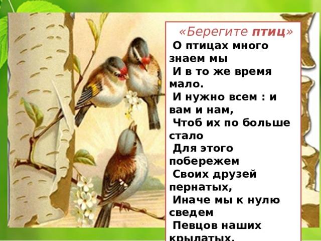 «Берегите птиц »  О птицах много знаем мы  И в то же время мало.  И нужно всем : и вам и нам,  Чтоб их по больше стало  Для этого побережем  Своих друзей пернатых,  Иначе мы к нулю сведем  Певцов наших крылатых.  Съедят деревья и плоды  личинки насекомых.  И поредеют все сады.  Без наших птиц знакомых!  Т. Евдошенко