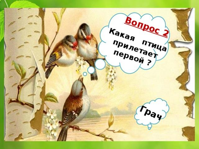 Вопрос 2 Какая птица  прилетает первой ? Грач