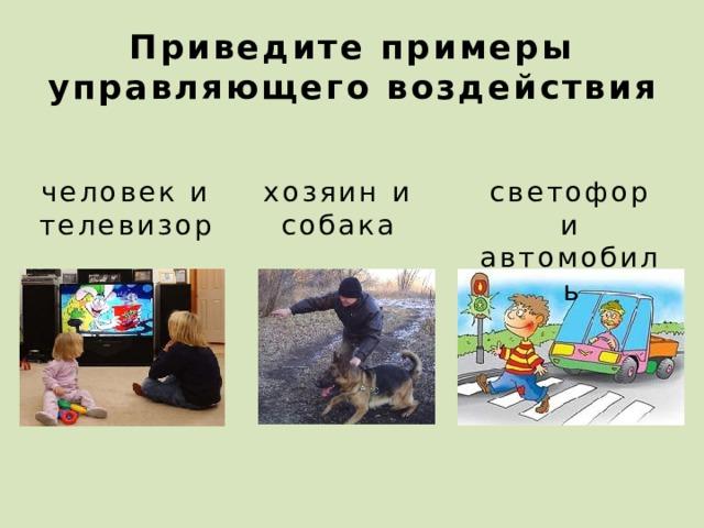 Приведите примеры управляющего воздействия человек и телевизор хозяин и собака светофор и автомобиль 2