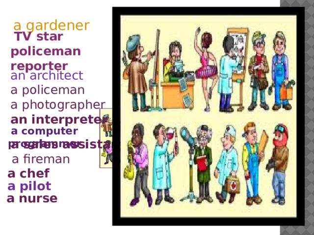 a gardener  TV star policeman reporter an architect a policeman a photographer an interpreter  a computer programmer  a sales assistant  a fireman a chef a pilot a nurse