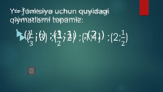 Y= funksiya uchun quyidagi qiymatlarni topamiz: