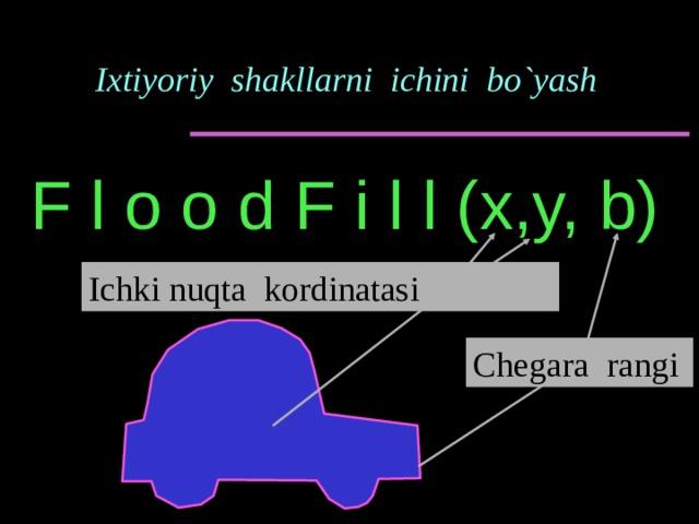 Ixtiyoriy shakllarni ichini bo`yash F l o o d F i l l (x,y, b) Ichki nuqta kordinatasi Chegara rangi