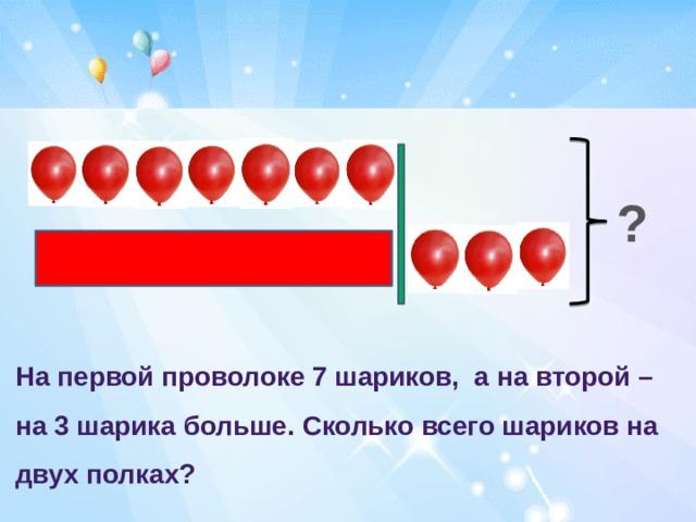 ? На первой проволоке 7 шариков, а на второй – на 3 шарика больше. Сколько всего шариков на двух полках?