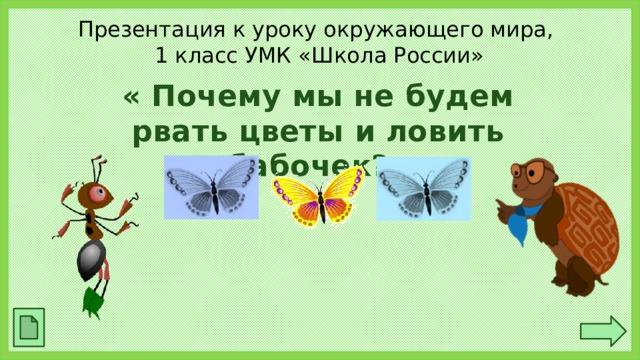 Презентация к уроку окружающего мира,  1 класс УМК «Школа России» « Почему мы не будем рвать цветы и ловить бабочек?»