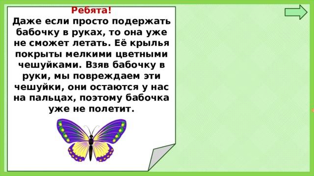 Ребята! Даже если просто подержать бабочку в руках, то она уже не сможет летать. Её крылья покрыты мелкими цветными чешуйками. Взяв бабочку в руки, мы повреждаем эти чешуйки, они остаются у нас на пальцах, поэтому бабочка уже не полетит.