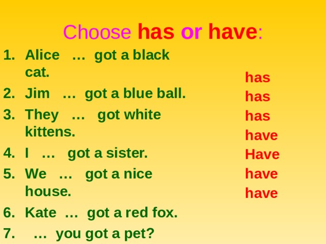 Choose has or  have : Alice … got a black cat. Jim … got a blue ball. They … got white kittens. I … got a sister. We … got a nice house. Kate … got a red fox. … you got a pet? has has has have Have have have