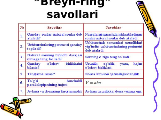 """"""" Brеyn-ring"""" savollari"""