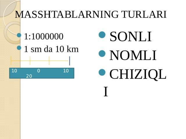 MASSHTABLARNING TURLARI SONLI NOMLI CHIZIQLI 1:1000000 1 sm da 10 km 10 0 10 20
