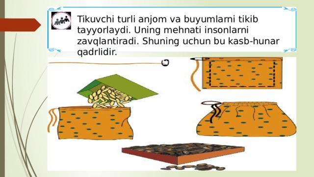 Tikuvchi turli anjom va buyumlarni tikib tayyorlaydi. Uning mehnati insonlarni zavqlantiradi. Shuning uchun bu kasb-hunar qadrlidir.