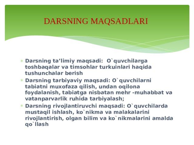 DARSNING MAQSADLARI