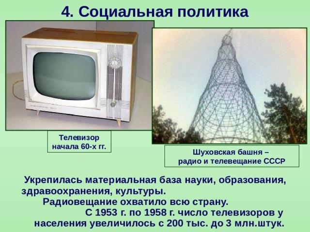 4.  Социальная политика Телевизор начала 60-х гг. Шуховская башня – радио и телевещание СССР  Укрепилась материальная база науки, образования, здравоохранения, культуры. Радиовещание охватило всю страну. С 1953 г. по 1958 г. число телевизоров у населения увеличилось с 200 тыс. до 3 млн.штук.