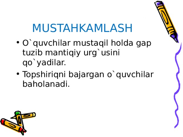 MUSTAHKAMLASH