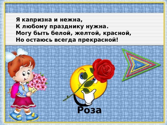 Я капризна и нежна, К любому празднику нужна. Могу быть белой, желтой, красной, Но остаюсь всегда прекрасной! Роза