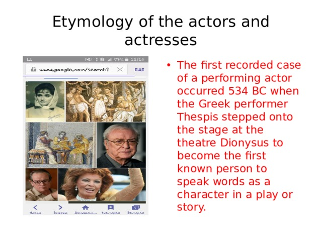 Etymology of the actors and actresses