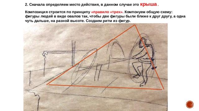 2. Сначала определяем место действия, в данном случае это крыша . Композиция строится по принципу «правило «трех». Компонуем общую схему: фигуры людей в виде овалов так, чтобы две фигуры были ближе к друг другу, а одна чуть дальше, на разной высоте. Создаем ритм из фигур.