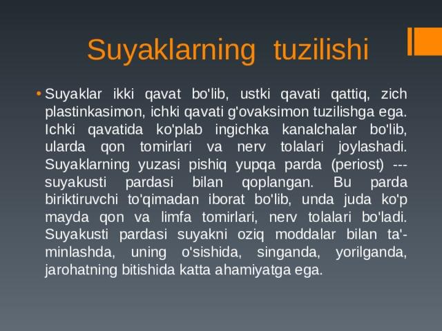 Suyaklarning tuzilishi
