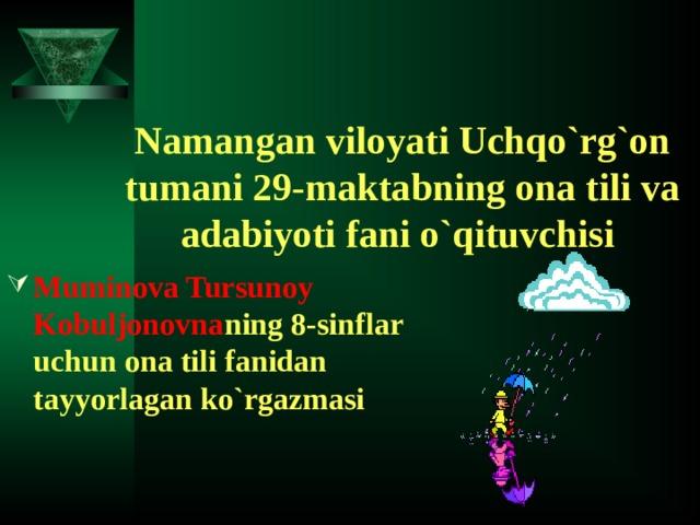 Namangan viloyati Uchqo`rg`on tumani 29-maktabning ona tili va adabiyoti fani o`qituvchisi