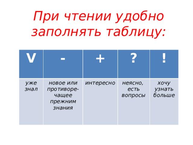 При чтении удобно заполнять таблицу: V - уже знал + новое или противоре-чащее прежним знания ? интересно ! неясно, есть вопросы хочу узнать больше