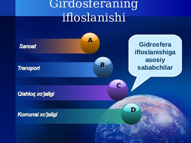 Girdosferaning ifloslanishi Gidrosfera ifloslanishiga asosiy sababchilar A B C D