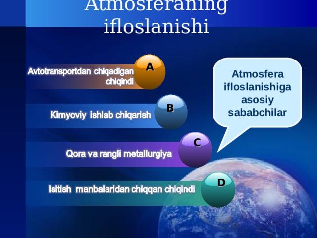 Atmosferaning ifloslanishi Atmosfera ifloslanishiga asosiy sababchilar A B C D