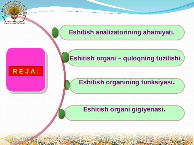 Eshitish analizatorining ahamiyati.   Eshitish organi – quloqning tuzilishi .    R E J A :  Eshitish organining funksiyasi .   Eshitish organi gigiyenasi .