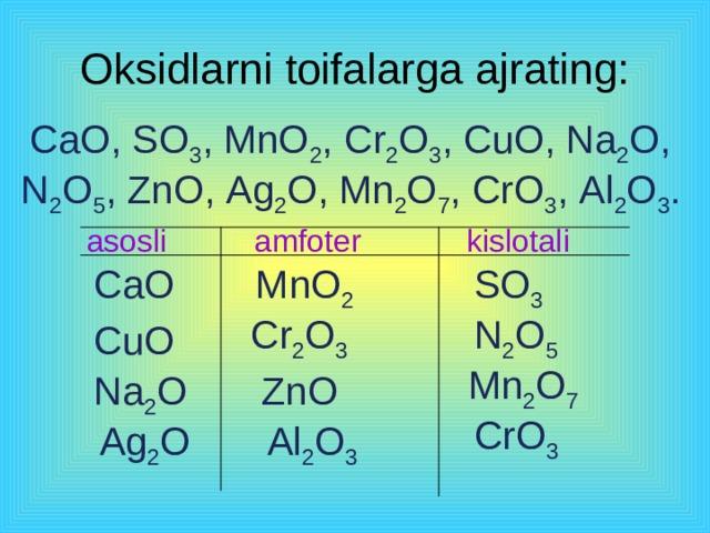 Oksidlarning toifalanishi Oksidlar Asosli  Kislotali  ( metall oksidlari ) ( metallmas oksidlari ) CO 2  MgO Magniy oksidi Uglerod (IV) - oksidi SO 3 С uO Mis(II) - oksidi Oltingugurt  (VI) - oksidi  CaO  Kalsiy oksidi  Mn 2 O 7  Marganes(VII) – oksidi