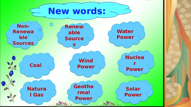 New words:   Non- Renewable Sources Water Power Renewable Sources Nuclear Power Wind Power Coal Natural Gas Solar Power Geothermal Power