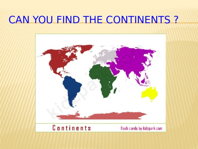 Can you find the continents ?
