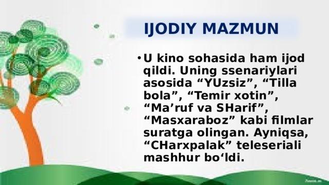 IJODIY MAZMUN