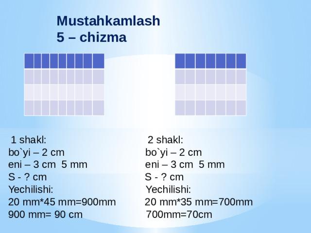 Mustahkamlash 5 – chizma   1 shakl: 2 shakl: bo`yi – 2 cm bo`yi – 2 cm eni – 3 cm 5 mm eni – 3 cm 5 mm S - ? cm S - ? cm Yechilishi: Yechilishi: 20 mm*45 mm=900mm 20 mm*35 mm=700mm 900 mm= 90 cm 700mm=70cm