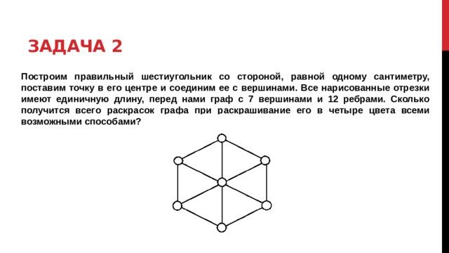 Задача 2 Построим правильный шестиугольник со стороной, равной одному сантиметру, поставим точку в его центре и соединим ее с вершинами. Все нарисованные отрезки имеют единичную длину, перед нами граф с 7 вершинами и 12 ребрами. Сколько получится всего раскрасок графа при раскрашивание его в четыре цвета всеми возможными способами?
