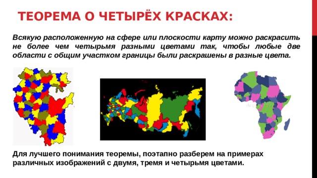 Теорема о четырёх красках: Всякую расположенную на сфере или плоскости карту можно раскрасить не более чем четырьмя разными цветами так, чтобы любые две области с общим участком границы были раскрашены в разные цвета.         Для лучшего понимания теоремы, поэтапно разберем на примерах различных изображений с двумя, тремя и четырьмя цветами.