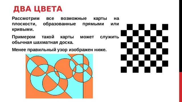 Два цвета Рассмотрим все возможные карты на плоскости, образованные прямыми или кривыми. Примером такой карты может служить обычная шахматная доска. Менее правильный узор изображен ниже.
