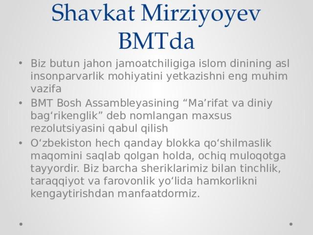 Shavkat Mirziyoyev BMTda