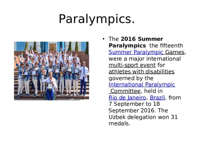 Paralympics.