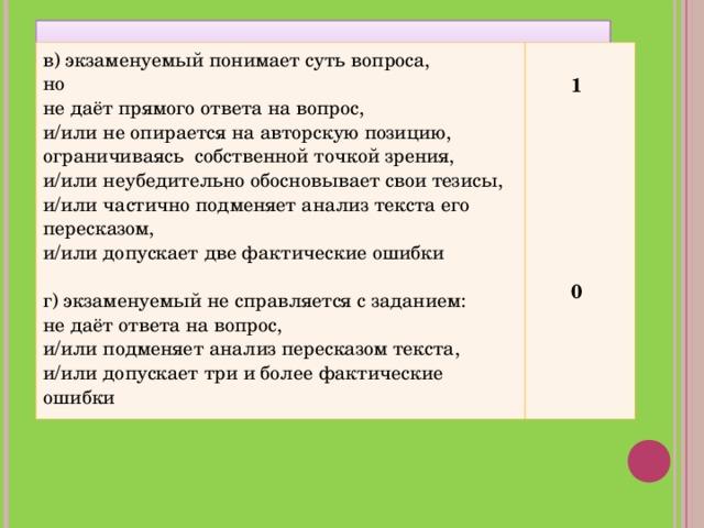 в) экзаменуемый понимает суть вопроса, но не даёт прямого ответа на вопрос, и/или не опирается на авторскую позицию, ограничиваясь собственной точкой зрения, и/или неубедительно обосновывает свои тезисы, и/или частично подменяет анализ текста его пересказом, и/или допускает две фактические ошибки г) экзаменуемый не справляется с заданием: не даёт ответа на вопрос, и/или подменяет анализ пересказом текста, и/или допускает три и более фактические ошибки   1         0
