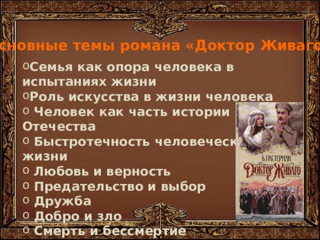 Композиция романа Основные темы романа «Доктор Живаго»