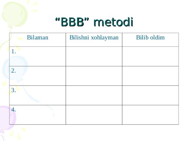 """"""" BBB"""" metodi Bilaman Bilishni xohlayman 1. Bilib oldim 2. 3. 4."""
