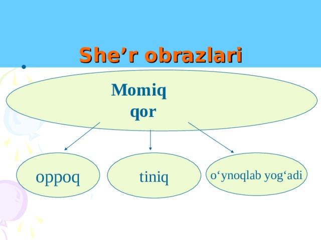 She'r obrazlari Momiq qor oppoq tiniq o'ynoqlab yog'adi