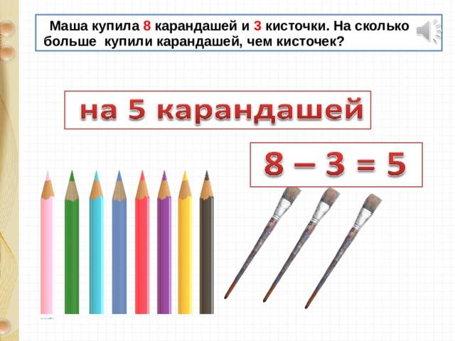 Маша купила 8 карандашей и 3 кисточки. На сколько  больше купили карандашей, чем кисточек?