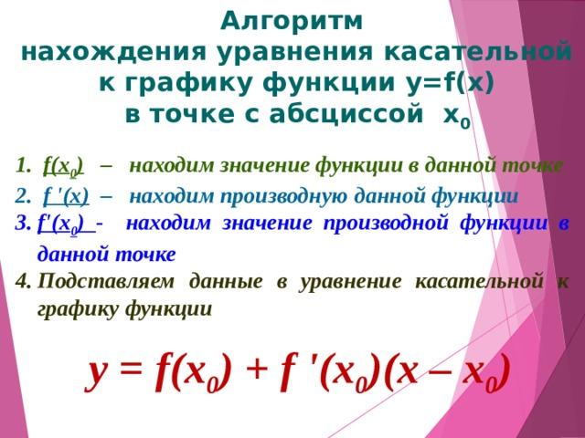 Алгоритм  нахождения уравнения касательной  к графику функции y=f(x)  в точке с абсциссой х 0  f(x 0 ) – находим значение функции в данной точке  f '(x) – находим производную данной функции f'(x 0 ) - находим значение производной функции в данной точке Подставляем данные в уравнение касательной к графику функции  у = f(x 0 ) + f '(x 0 )(х – х 0 )