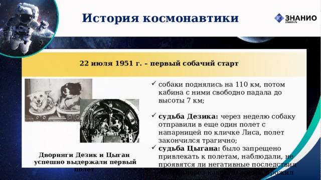 История космонавтики 22 июля 1951 г. – первый собачий старт собаки поднялись на 110 км, потом кабина с ними свободно падала до высоты 7 км; судьба Дезика: через неделю собаку отправили в еще один полет с напарницей по кличке Лиса, полет закончился трагично; судьба Цыгана: было запрещено привлекать к полетам, наблюдали, не проявятся ли негативные последствия полета через какое-то время, прожил долгую жизнь. Дворняги Дезик и Цыган успешно выдержали первый полет