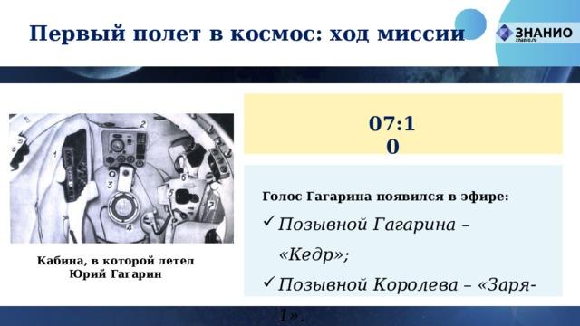 Первый полет в космос: ход миссии 07:10 Голос Гагарина появился в эфире: Позывной Гагарина – «Кедр»; Позывной Королева – «Заря-1». Кабина, в которой летел Юрий Гагарин