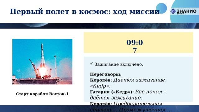 Первый полет в космос: ход миссии 09:07 Зажигание включено. Переговоры: Королёв:  Даётся зажигание, «Кедр». Гагарин («Кедр»):  Вас понял – даётся зажигание. Королёв:  Предварительная ступень… Промежуточная… Главная… Подъём!   Старт корабля Восток-1