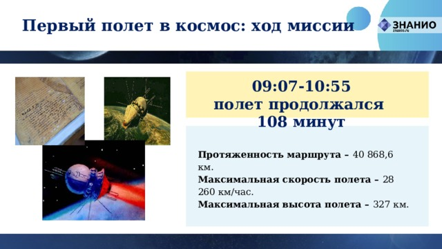 Первый полет в космос: ход миссии 09:07-10:55 полет продолжался 108 минут Протяженность маршрута – 40 868,6 км. Максимальная скорость полета – 28 260 км/час. Максимальная высота полета – 327 км.